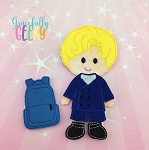 Back to school Dress up Doll  - Embroidery Design 5x7 hoop or larger