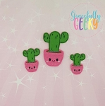 Cactus Pot 1 Feltie ITH Embroidery Design 4x4 hoop (and larger)