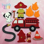 Fire Fighter Play Set for Dress Up dolls  - Embroidery Design 5x7 hoop or larger