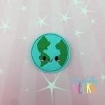Kawaii Earth Feltie ITH Embroidery Design 4x4 hoop (and larger)