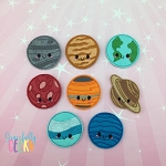 Kawaii Planets Feltie Bundle ITH Embroidery Design 4x4 hoop (and larger)