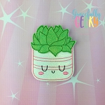 Succulent Pot 4 Feltie ITH Embroidery Design 4x4 hoop (and larger)