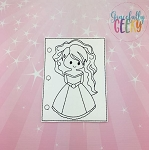 Princess 5 quiet book coloring page ITH embroidery design 5x7 hoop