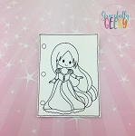 Princess 6 quiet book coloring page ITH embroidery design 5x7 hoop