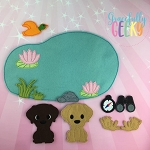 Labrador Set finger puppet and accessories - Embroidery Design