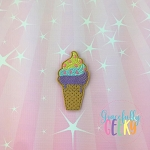 Soft Serve Ice Cream Feltie ITH Embroidery Design 4x4 hoop (and larger)