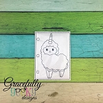 LlamaCorn quiet book coloring page ITH embroidery design 5x7 hoop