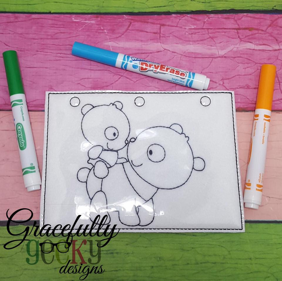 Panda Mom And Baby Quiet Book Coloring Page ITH Embroidery Design