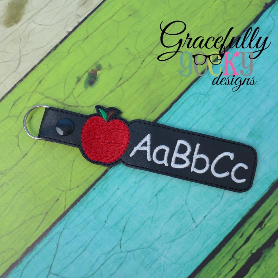 ABC Teacher Snap Keychain ITH Embroidery Design - 4x4 Hoop or Larger