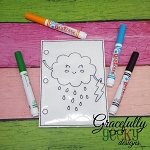 Happy Cloud quiet book coloring page ITH embroidery design 5x7 hoop