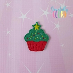 Christmas Tree Cupcake Feltie ITH Embroidery Design 4x4 hoop (and larger)