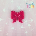 Heart Bow Feltie ITH Embroidery Design 4x4 hoop (and larger)