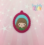 Little Girl 3 ornament Embroidery Design 4x4 hoop and up