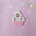 Melted Snowman Cupcake Feltie ITH Embroidery Design 4x4 hoop (and larger)