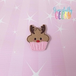 Reindeer Cupcake Feltie ITH Embroidery Design 4x4 hoop (and larger)
