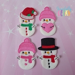 Snowman Family  finger puppet and accessories - Embroidery Design