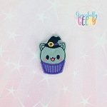 Witch Kitten cupcake Feltie ITH Embroidery Design 4x4 hoop (and larger)