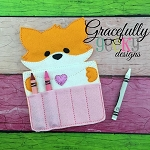 Love Letter Fox Crayon Holder Embroidery Design - 5x7 Hoop or Larger