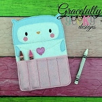 Love Letter Owl Crayon Holder Embroidery Design - 5x7 Hoop or Larger