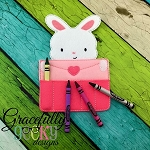 Love Letter Bunny Crayon Holder Embroidery Design - 5x7 Hoop or Larger