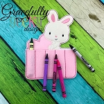 Love Bunny Crayon Holder Embroidery Design - 5x7 Hoop or Larger