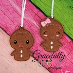 Gingerbread Couple ornaments Embroidery Design 4x4 hoop and up