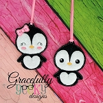 Penguin Couple ornaments Embroidery Design 4x4 hoop and up