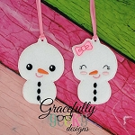 Snow Couple ornaments Embroidery Design 4x4 hoop and up