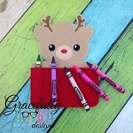 Reindeer Crayon Holder Embroidery Design - 5x7 Hoop or Larger