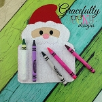 Santa Crayon Holder Embroidery Design - 5x7 Hoop or Larger