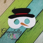 Snowman Mask Embroidery Design - 5x7 Hoop or Larger