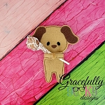 Puppy Candy Hugger Embroidery Design 4x4 hoop and up