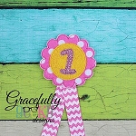 Flower Bday Badge Numbers 1-9 Embroidery Design - 4x4 Hoop or Larger