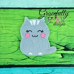 Kitty Cat Feltie ITH Embroidery Design 4x4 hoop (and larger)
