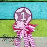 Star Bday Badge Numbers 1-9 Embroidery Design - 4x4 Hoop or Larger