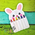 Bunny Crayon Holder Embroidery Design - 5x7 Hoop or Larger