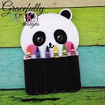 Panda Crayon Holder Embroidery Design - 5x7 Hoop or Larger