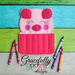 Piggy Crayon Holder Embroidery Design - 5x7 Hoop or Larger
