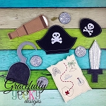 Pirate SET Embroidery Design - 5x7 Hoop or Larger