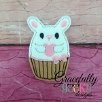 Cupcake Love Bunny Feltie ITH Embroidery Design 4x4 hoop (and larger)