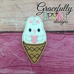 Ice cream Love Bunny Feltie ITH Embroidery Design 4x4 hoop (and larger)