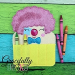 Clown Crayon Holder Embroidery Design - 5x7 Hoop or Larger