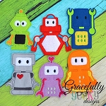 Robots Finger Puppet Embroidery Design - 4x4 Hoop or Larger