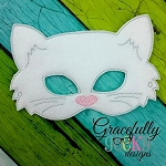 White Cat Felt  Mask  Embroidery Design - 5x7 Hoop or Larger