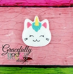 Unicorn Kitty Feltie ITH Embroidery Design 4x4 hoop (and larger)