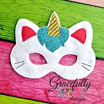 Unicorn Kitty Felt  Mask  Embroidery Design - 5x7 Hoop or Larger