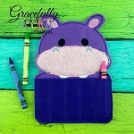 Hippo Crayon Holder Embroidery Design - 5x7 Hoop or Larger