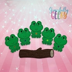 5 little Speckled Frogs finger puppet set - Embroidery Design