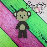 Monkey Boy  Body Dress up Doll - Embroidery Design 5x7 hoop or larger