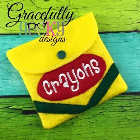 Felt Crayon Pouch Holder Embroidery Design 5x7 Hoop Or